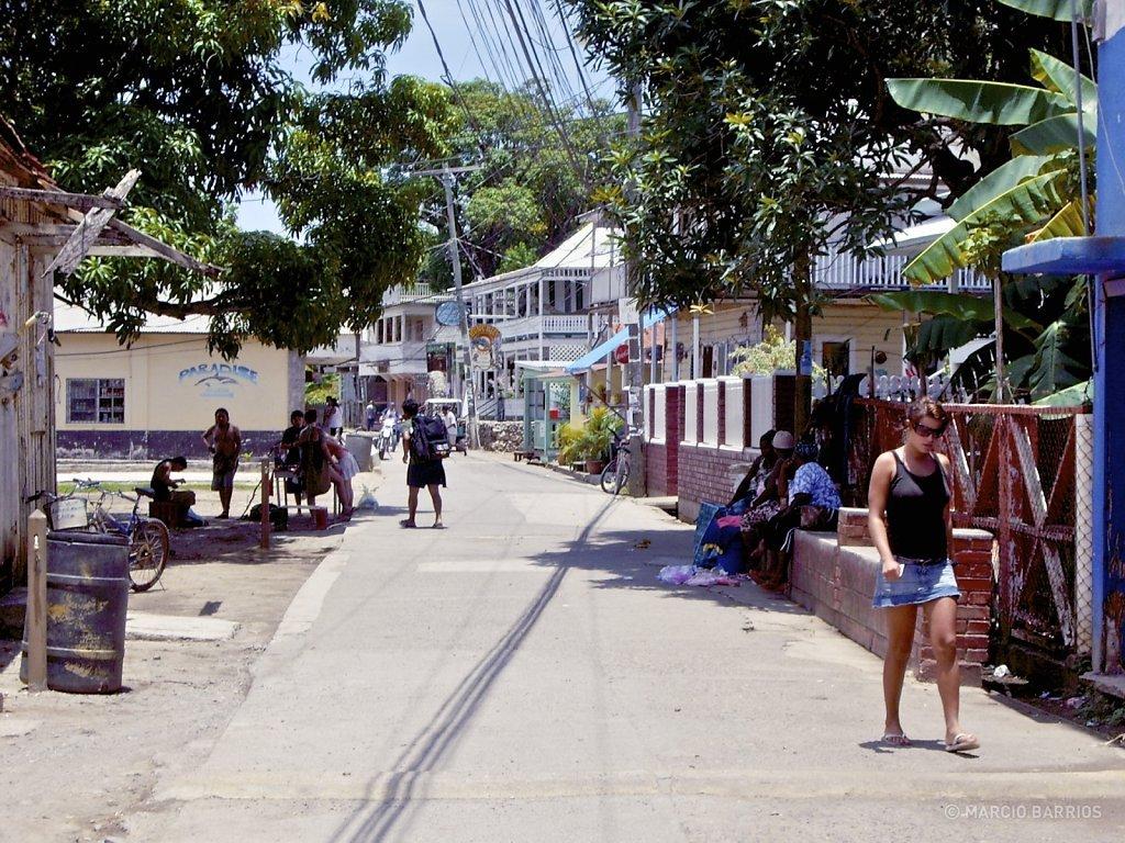 Main street in Utila