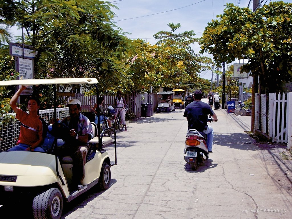 Only motorbikes and golf carts in Sandy Bay