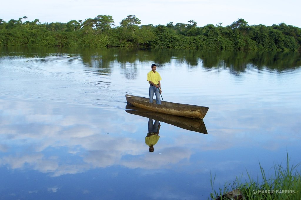 One of the local guides with a canoe